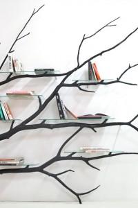 geek et bio comment transformer une branche en tag re moderne et design. Black Bedroom Furniture Sets. Home Design Ideas