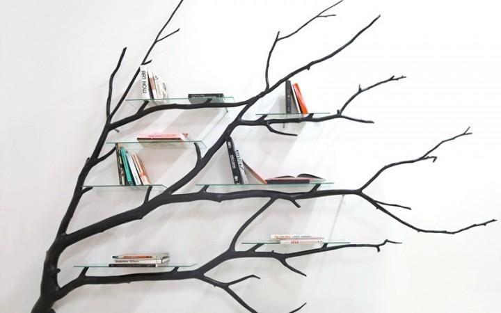 etager bois branche verre artiste moderne design