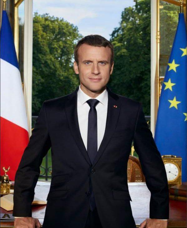 Portrait officiel président de la république Française Emmanuel Macron