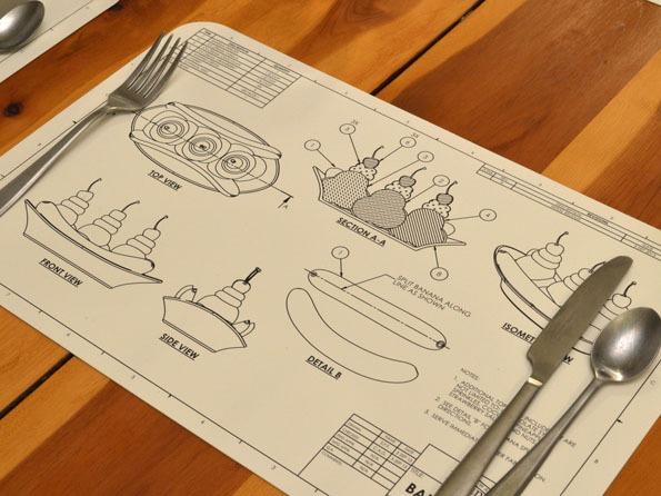 les plans techniques des plats sur des sets de table 100 geek geek et bio. Black Bedroom Furniture Sets. Home Design Ideas